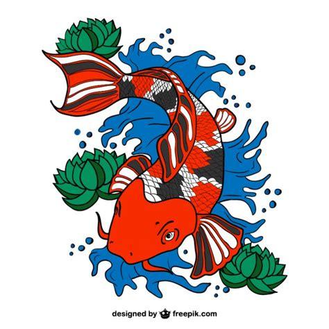 cartoon vis tattoo vector de pez koi descargar vectores gratis
