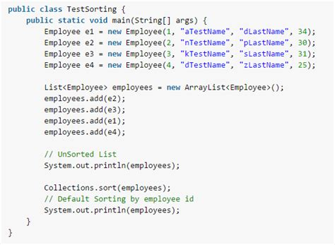 email template java java arraylist object sorting with comparable and