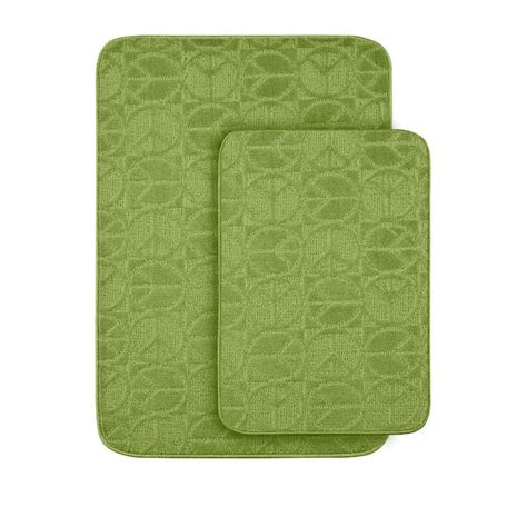 Lime Green Bathroom Rugs Garland Rug Peace Lime Green 20 In X 30 In Washable Bathroom 2 Rug Set Pb 2pc Lgn The