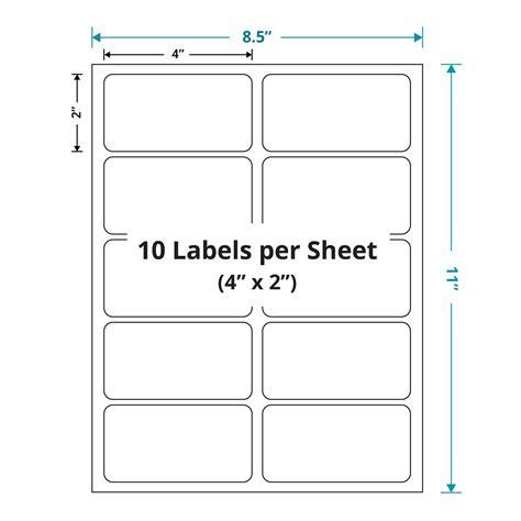 4 labels per sheet template laser sheet labels 4 quot x 2 quot 10 labels per sheet white
