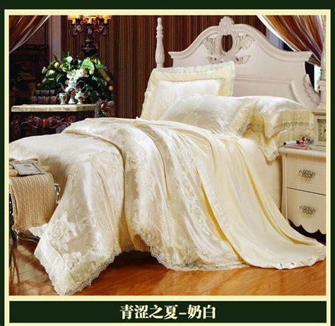 white satin comforter set luxury brand white lace satin jacquard bedding comforter