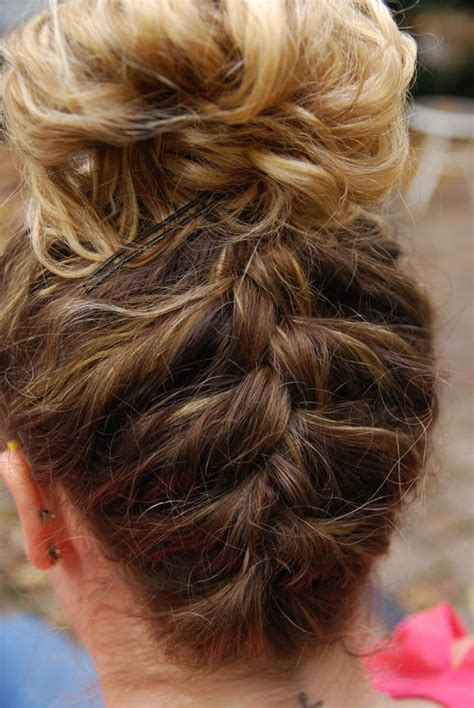hair styles for gymnastic meets try french braiding up the back of your head for something