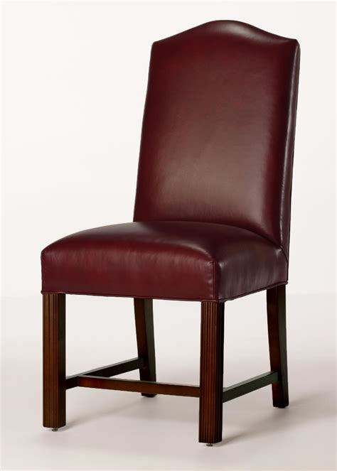 Leather Back Dining Chairs Leather Camel Back Chippendale Dining Chair With Seat
