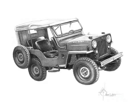 jeep drawing u s army jeep drawing by murphy elliott