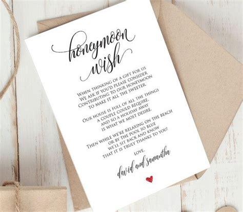 Wedding Registry Honeymoon Fund by Honeymoon Wish Printable Card Wedding Wishing Well Insert