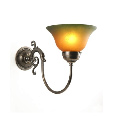 victorian aged brass single wall light with amber green shade