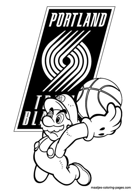 mario basketball coloring pages portland trail blazers and super mario nba coloring pages
