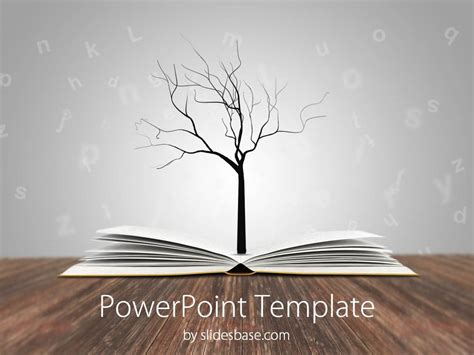 book themes about knowledge knowledge tree powerpoint template slidesbase