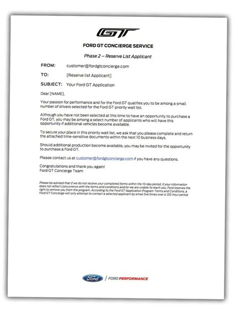Rejection Letter For Vehicle you ve got mail see the ford gt acceptance rejection