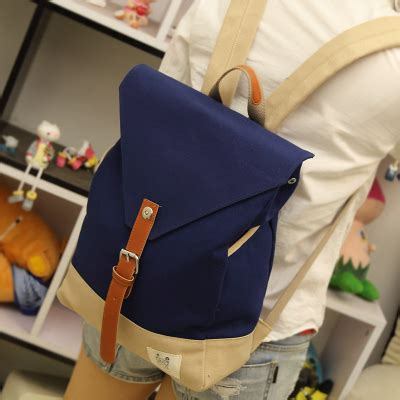 075 Tas Backpack Wanita Canvas Korea 2016 square shape korean style color contrast canvas backpack college student school book