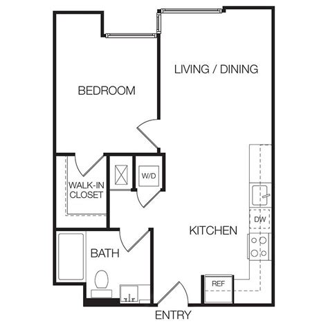 1 Bedroom Apartment Floor Plan | 1 bedroom apartments eastown hollywood apartments
