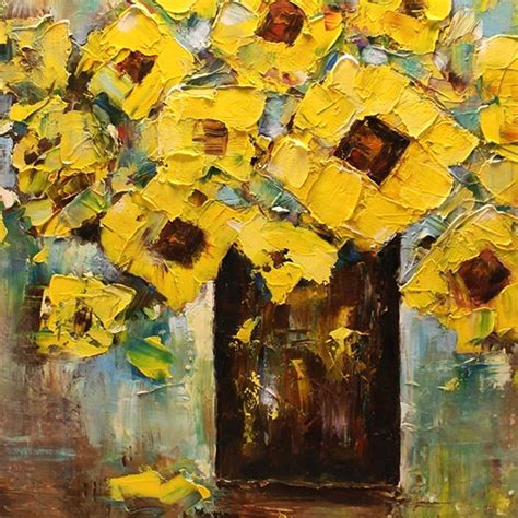 free painting painted yellow flower in vase painting