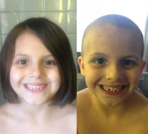 head shave before and after super cut six year old girl shaves her head just like dad