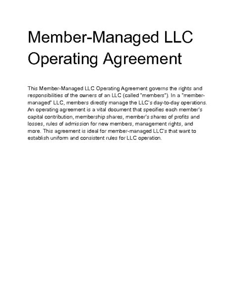 member managed llc operating agreement template welcome to docs 4 sale best free home design idea