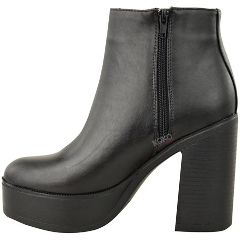 chunky ankle boots new womens chunky chelsea ankle boots high block