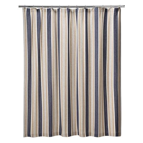 Rugby Stripe Curtains Rugby Stripe Fabric Shower Curtain Beige Navy Blue White Nautical Preppy Ebay