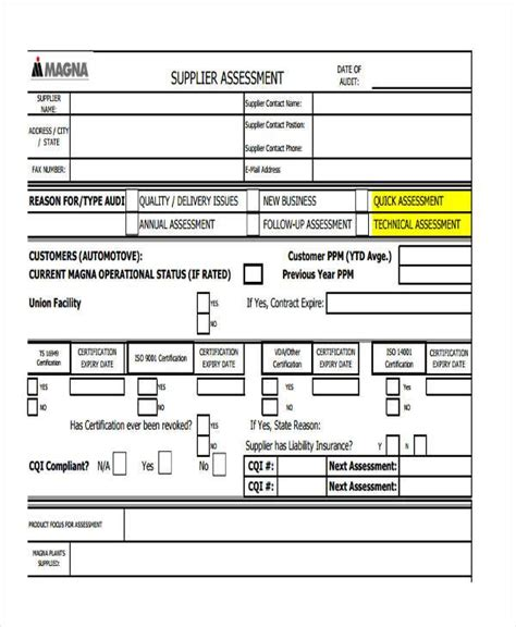 supplier form template sle supplier assessment forms 8 free documents in
