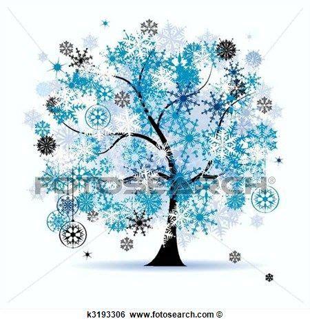 clipart inverno albero inverno snowflakes natale clip