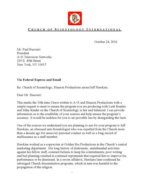 Nss Release Letter Letter From Csi To A E Networks Re Jeff Hawkins