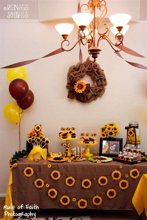 Sunflower Themed Bridal Shower Ideas real sunflowers burlap renee s soirees