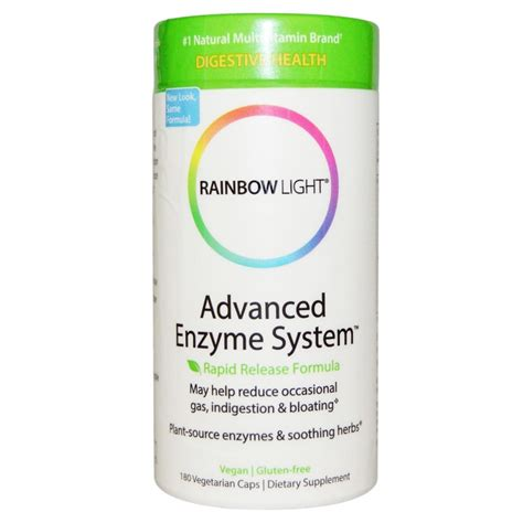 rainbow light advanced enzyme system advanced enzyme system rapid release formula 180 veggie