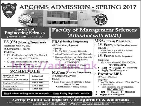 Of Mba Admissions by New Admissions Open 2017 Apcoms Army College Of