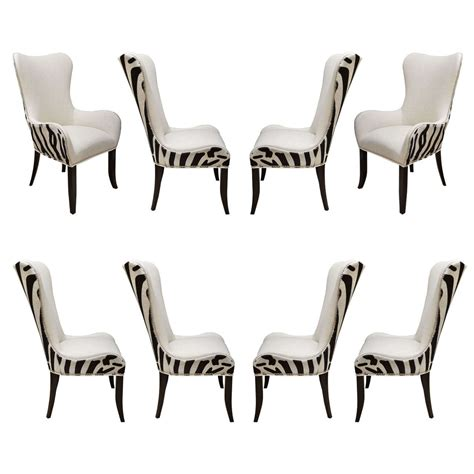 set of eight zebra stenciled cowhide dining chairs at 1stdibs