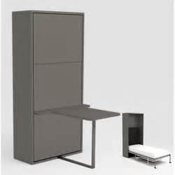 armoire lit escamotable 90x200 gris bureau achat