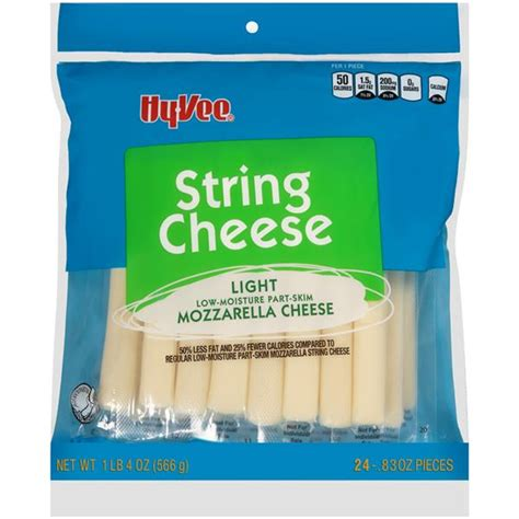 Hy Vee Light String Cheese Mozzarella 24 Count Hy Vee Light String Cheese Calories