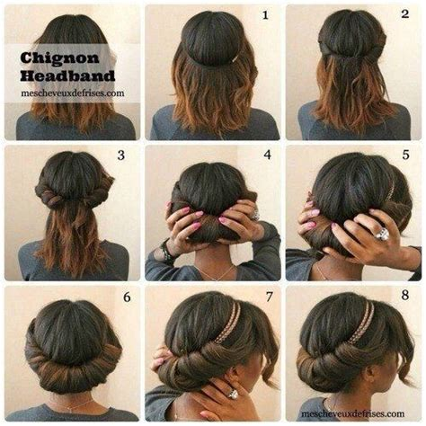 next day hair styles chignon headband hairstyles pinterest updo natural