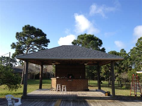 Tiki Bar Roof Reroof Of Thatched Tiki Bar With Shingles Brevard County