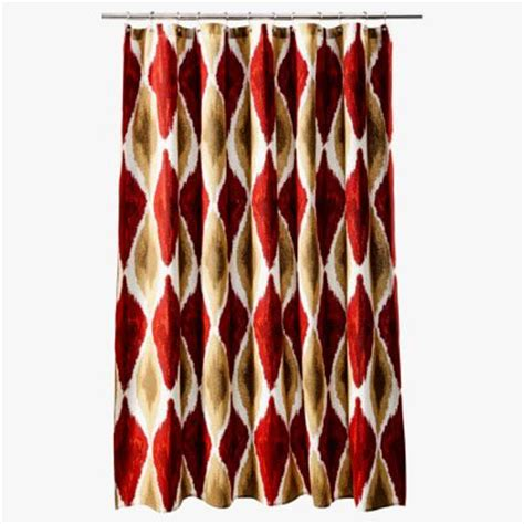 red and brown shower curtain threshold large ikat red gold brown fabric shower curtain