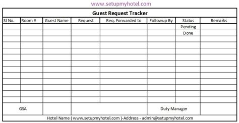 Front Desk Guest Request Tracker Format Hotel Guest Book Template