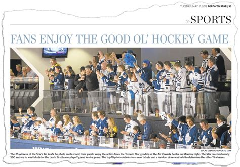 toronto star sports section toronto maple leafs vs boston bruins game 3 2013