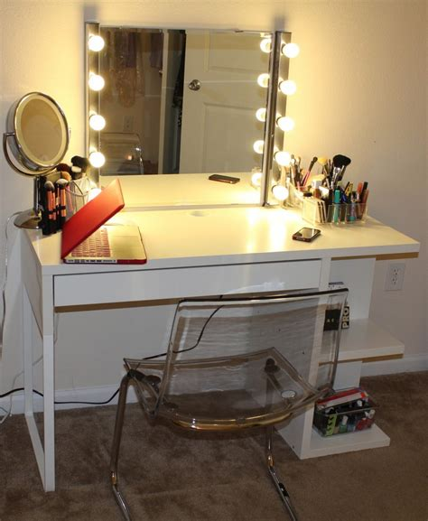 makeup mirror with lights and desk long black wooden make up with glass top also