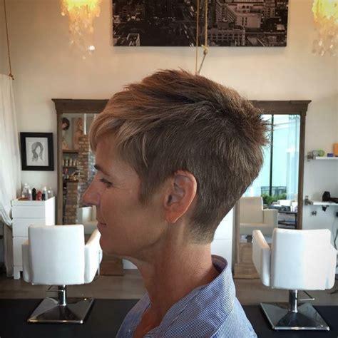 woman scissor cut hair styles scissor over comb disconnected pixie cut undercut