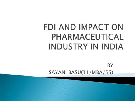 Mba In Pharmaceutical Companies In India by Fdi And Impact On Pharmaceutical Industry In India