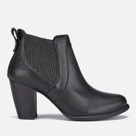 ugg s cobie ii leather heeled ankle boots black
