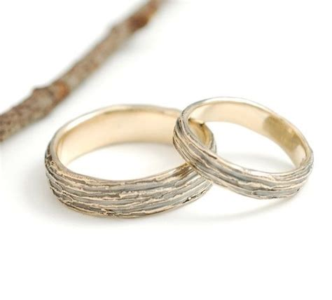 Bark Design Wedding Ring by Tree Bark Wedding Rings In Yellow Gold Made To Order