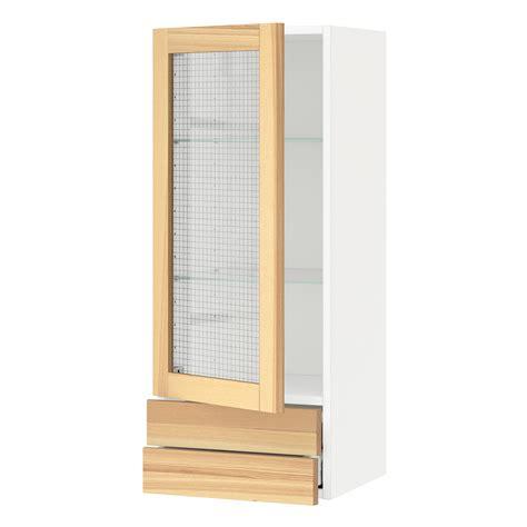 glass door wall cabinet kitchen metod maximera wall cabinet w glass door 2 drawers white