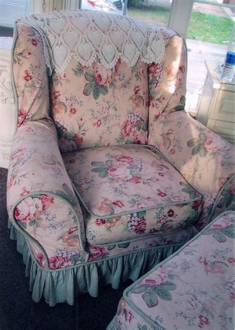 shabby slipcover made with three coordinating fabrics with