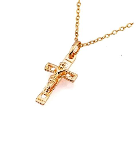 18 k white gold cross pendant leather backed large heavy men s 18k gold filled jesus christ crucifix cross pendant chain
