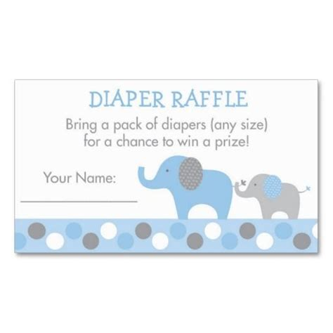 Raffle Card Template Blue Elephant Diaper Raffle Tickets Baby Shower Ideas