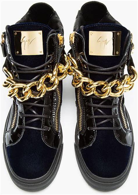 giuseppe zanotti white gold chain sneakers giuseppe zanotti navy velvet gold chain high top sneakers
