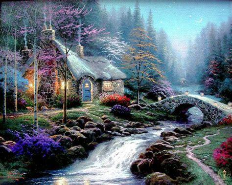 kinkade twilight cottage kinkade paintings twilight cottage g p canvas ebay