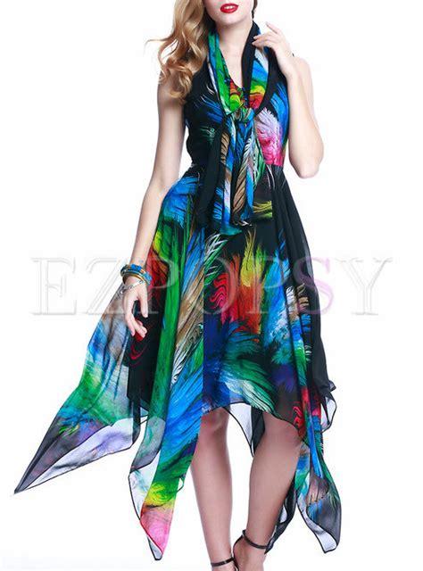 Chiffon Hem Sleeveless Dress v neck sleeveless irregular hem chiffon dress ezpopsy