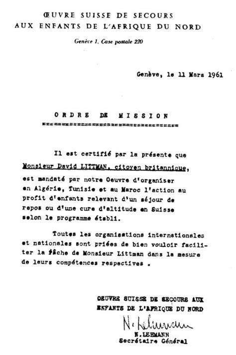 Lettre De Recommandation Pour Obtenir Un Logement Hommage A David Littman Du Mossad Et Responsable De L Operation Mural Qui Sauva Des