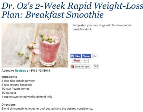 Dr Oz Green Smoothie Detox by Dr Oz Weight Loss Breakfast Smoothie Juice Recipes To