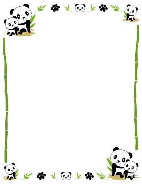 border clip art featuring cute pandas bamboo and paw