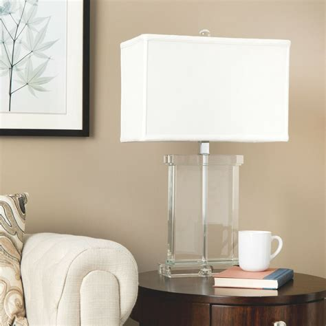 modern table lamp white fabric shade crystal base accent